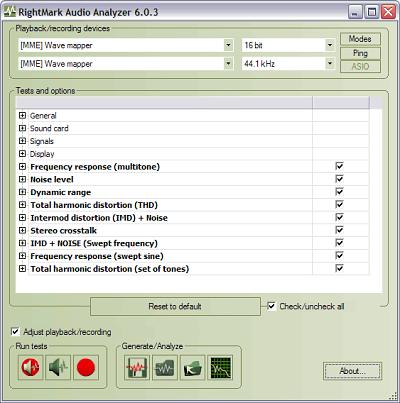 RightMark Audio Analyzer full screenshot