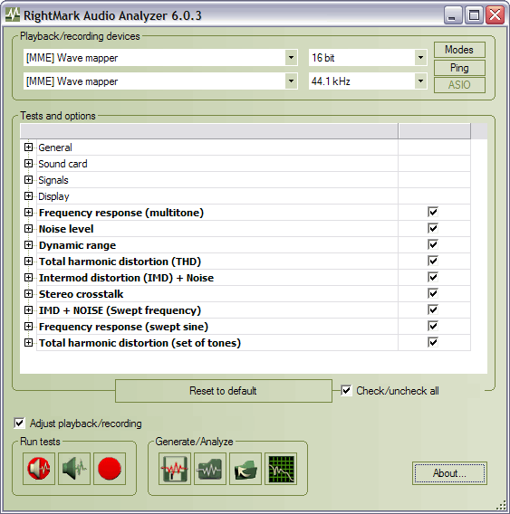 RightMark Audio Analyzer  Products  Audio Rightmark